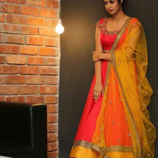 varniraj online Diwali Special designer Orange Bhagalpuri silk Anarkali suit