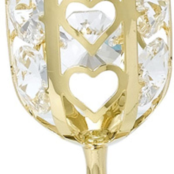 24K Gold Plated Wine Glass Studdedd With Swarovski Crystals
