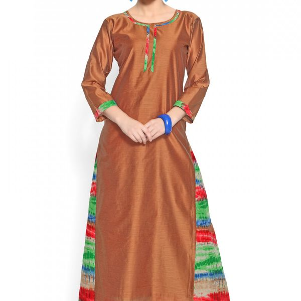 Admyrin Brown Cotton Silk Printed Kurta With Palazzo