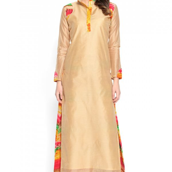 Admyrin Beige Cotton Silk Printed Kurta With Palazzo