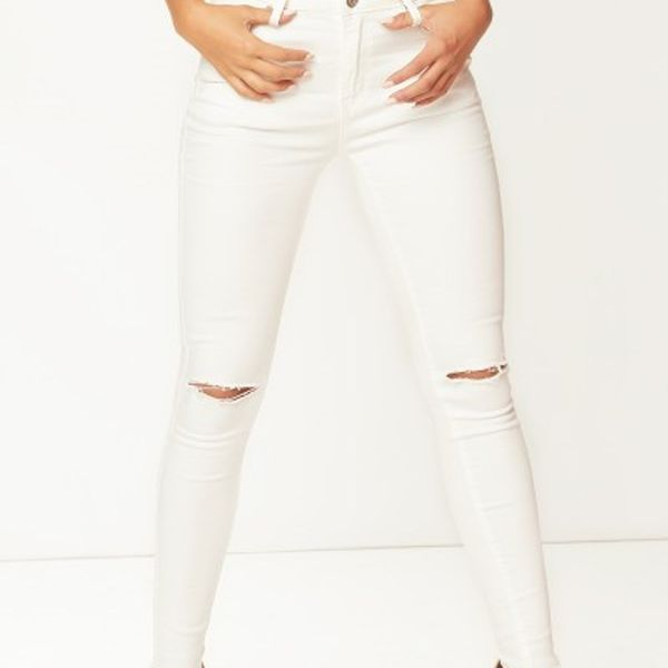 Ansh Fashion Wear Womens Denim Jeans - Regular Fit Denims for Women - Mid Rise - Full Length- Knee Cut - White W-T9WHT3
