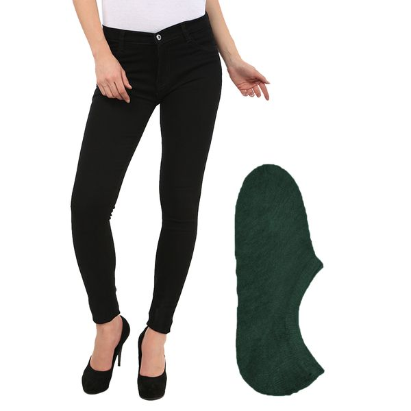 Fuego Fashion Wear Black Jeans For Women With Assorted Boot Socks GRL-JNS-BLK-BOOT-SOCKS-GRN