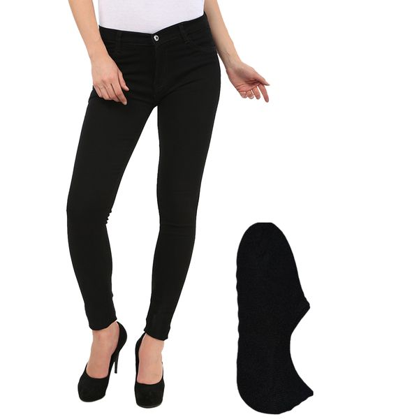 Fuego Fashion Wear Black Jeans For Women With Assorted Boot Socks GRL-JNS-BLK-BOOT-SOCKS-BLK