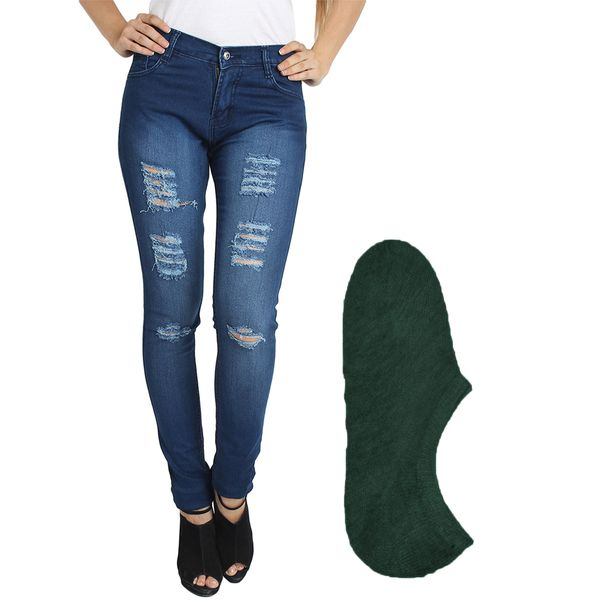 Fuego Fashion Wear Blue Jeans For Women With Assorted Boot Socks GRL-JNS-3HD1-BOOT-SOCKS-GRN