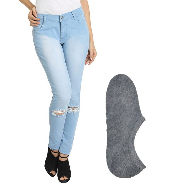 Fuego Fashion Wear Light Blue Jeans For Women With Assorted Boot Socks GRL-JNS-KN3-BOOT-SOCKS-GRY