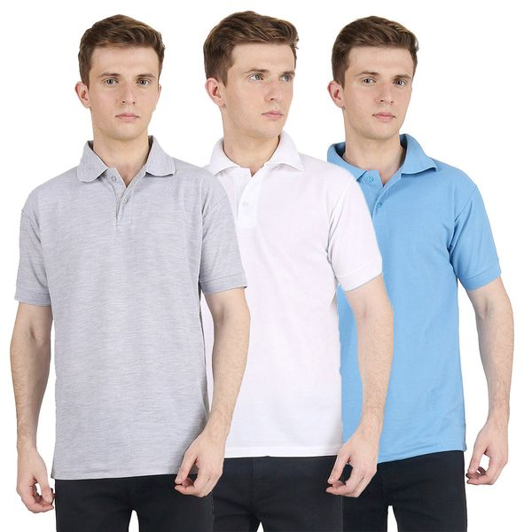 Van Galis Fashion Wear Combo Of Multicoloured Polo T-Shirts For Mens- Pack Of 3Vg-Pt-3Cm-Gry-Wht-Lb