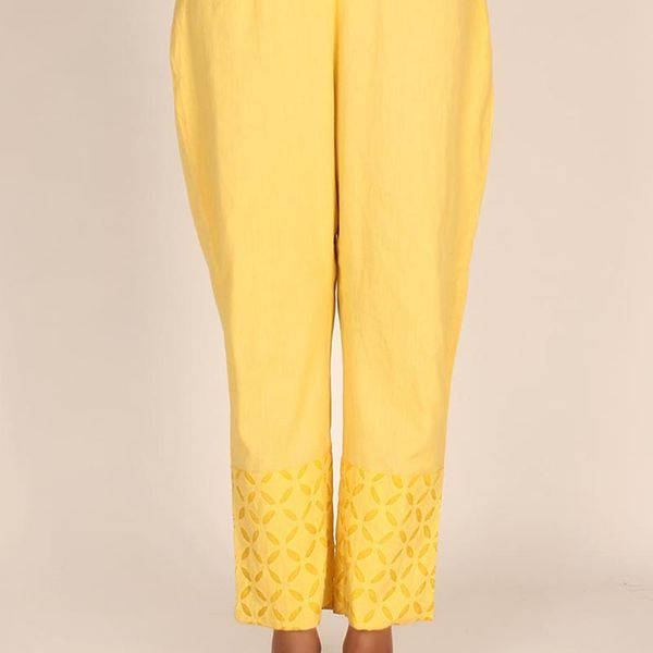 Sunflower Yellow Cotton Applique Palazzos