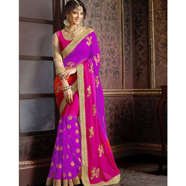 Try n Gets Purple and Pink Color Embellished Georgette Designer Saree