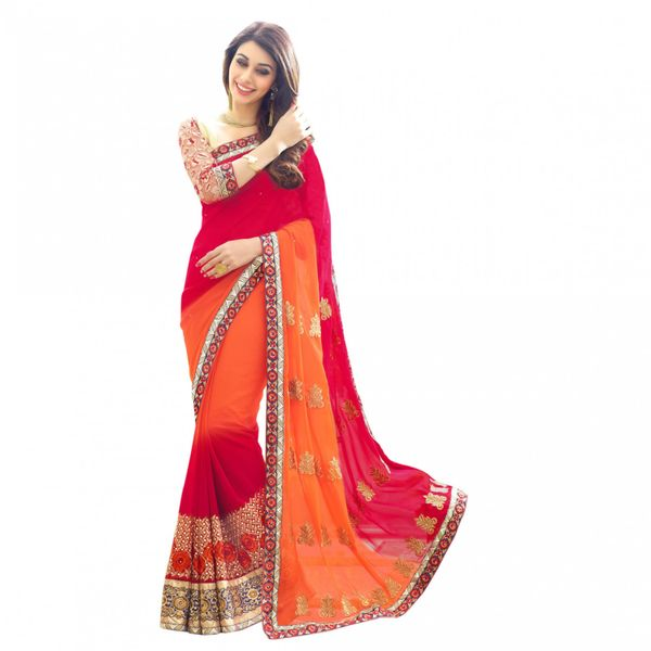Try n Gets Beautiful Red and Orange Color Embellished Georgette Fancy Designer Saree