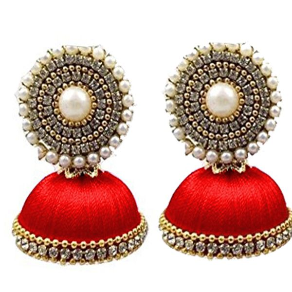 Silk Thread Jhumki Earring for Women Red color