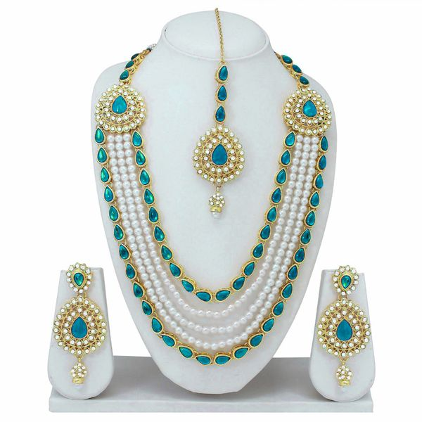 Designer Gold Plated Pearls Necklace With Drop Earrings And Mangtikka Set