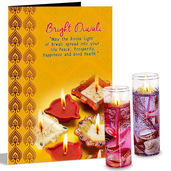 Bright Diwali Jelly Candles  Greeting Card Hamper