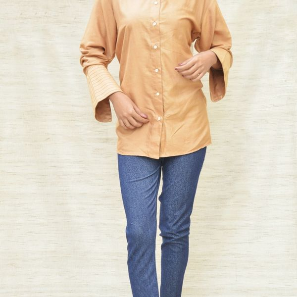 Fawn Khadi Silk Shirt Collar Top