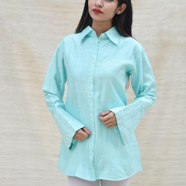 Firozi Blue Khadi Silk Shirt Collar Top
