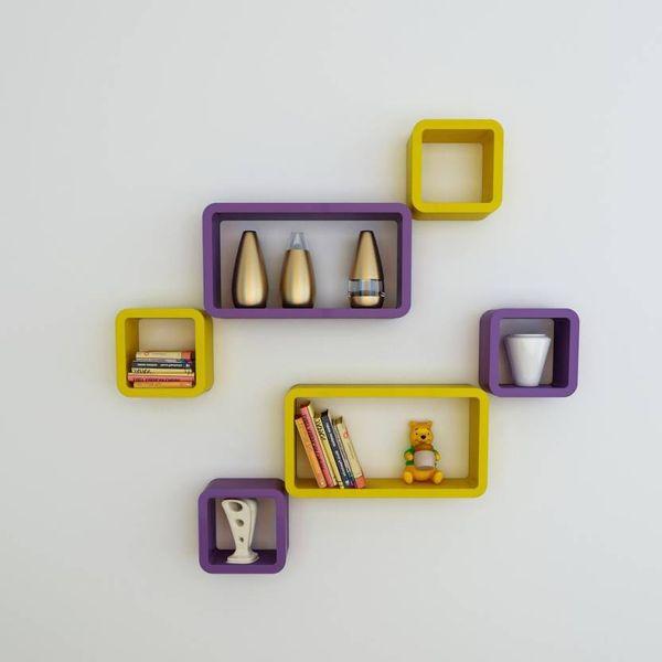 Decorasia Wooden Purple  Yellow Cube Wall Shelf Set Of 6 - Size 42 X 22 X 10 Cm