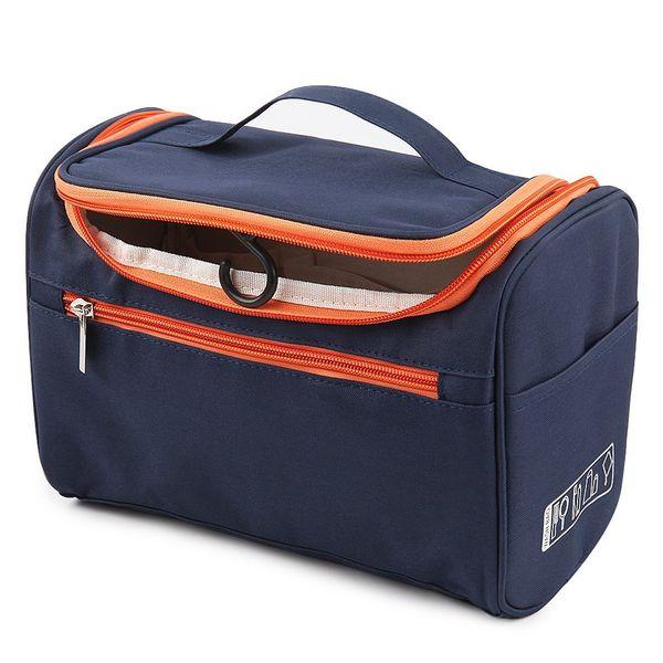 ShopAIS Hanging Fabric Travel Toiletry Bag Organizer and Dopp Kit 16 cm x 10.01 cm x 3 cm - Navy Blue