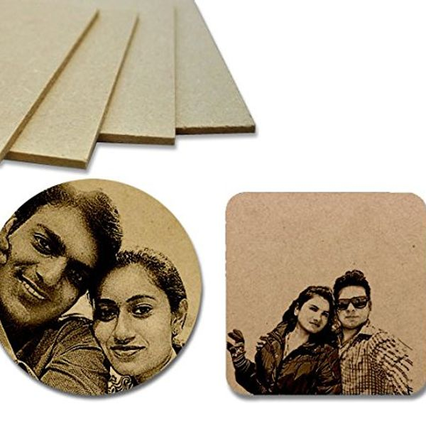 Wooden Photo Coasters - Engraved Set of 4