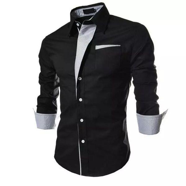 New Fancy Black Pure Cotton Men Shirt