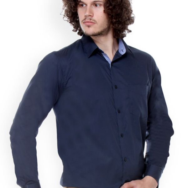 New Fancy Dark Blue Cotton Men Formal Shirt