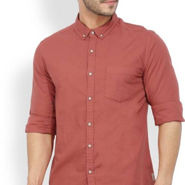 New Fancy Maroon Cotton Men Formal Shirt