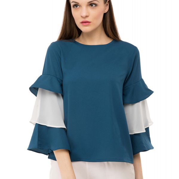 BGORG Women Western Frill Top in Teal Colour