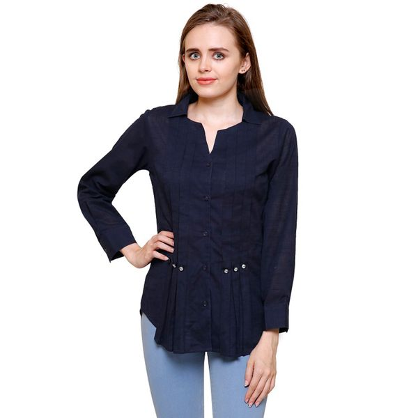 Mythya Womens Solid Navy Blue Cotton Shirt