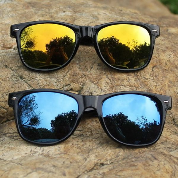 Skygge Original combo of Unisex Wayfarers Mirrored Blue and Yellow Colour Sunglasses with Black Frame HD Vision