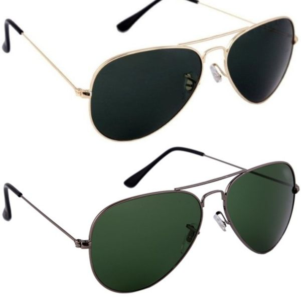 Skygge Original Unisex Combo Of Aviators UV 400 Protected Polycarbonate Black Colour Golden Frame And Green Colour Black Frame Sunglasses