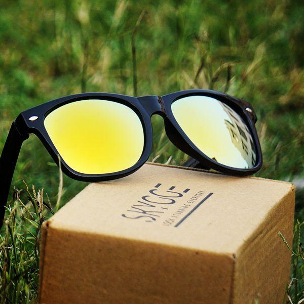Skygge Original Wayfarer Yellow Mirror Lens Black Shiny Plastic Frame UV Protected Unisex Sunglasses