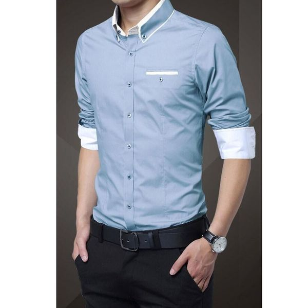 66f3d9ee6f1 ... Buy New Fancy Pure Cotton Light Blue Formal Men Shirt at 66 off in