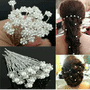 Bridal Pearl Flower Clear Crystal Rhinestone Hair Pins (5 pieces)